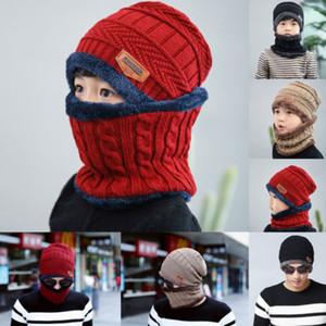 Forro de punto sombrero de nieve Conjunto Hombres Niños cálido Beanie bufanda de esquí de invierno polar cuello