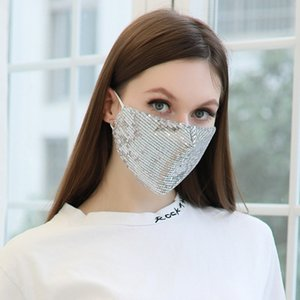 Fashion shiny sliver mascarillas Facewashable And Reusable Outdoor Sequined Cover Face-Mask