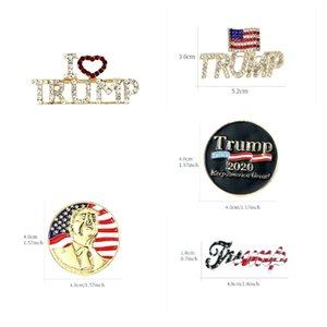 Trump Brooch Shiny American Flag Brooch Commemorative Brooch Crystal Rhinestones Brooches Lapel Pins for 2020 Presidential Election BBA3
