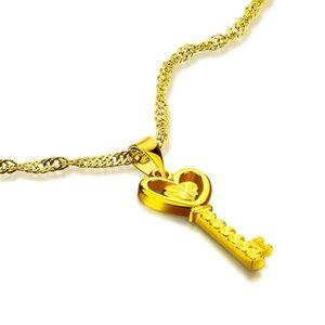 Nouveau mode femme couleur or clé pendentif collier dame coeur charme Tour de cou style chinois de mariage bijoux en or cadeaux en gros