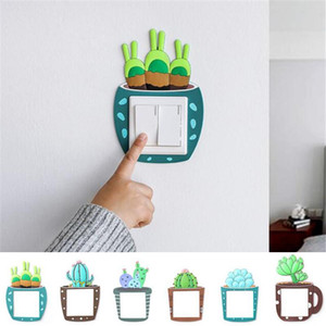 Home Decor decorativa Luminous Cactus Switch adesivo criativa interruptor de parede soquete tampa da etiqueta Chave decorativa Luminous etiqueta XD23331