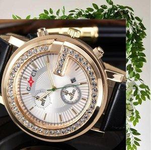 Big Bling Diamonds Watch Men ICED-OUT Hip Hop Womens Men Quartz Watches Gold Leather Strap Relogio Reloj Hombre Unisex Clock Hour