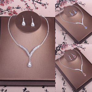 Sweet Silver Blue Bridal Jewelry 2 Pieces Sets Necklace Earrings Bridal Jewelry Bridal Accessories Wedding Jewelry T220174