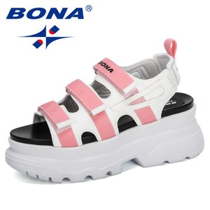 BONA 2020 New Designers Sport Sandals Wedge Hollow Out Women Sandals Outdoor Cool Platform Shoes Woman Beach Summer Shoes Ladies T200605