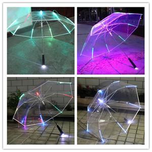 Luzes LED luminoso Umbrella Transparente longo Handle Umbrellas Flashing Umbralla Verão Crianças Toy Praia Publicidade Umbrellas New E3403