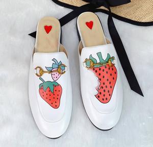 2019 Luxus-Designer-Frucht loafer Prince Trensen Maultiere Pantoffel suedue Metallkette Pantoffel Faulenzer Drachen Tiger Blume Schlange gestickt