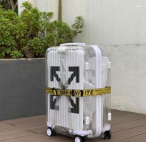 borse moda per l'uomo e le donne trasparente valigia in policarbonato è extra leggero Colore: bianco e nero Dimensione: 20 pollici