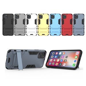 Luxo Levante Armadura Caso Phone Holder para o iPhone 78 Plus X XS Max 2019 iPhone 11 Pro Max híbrido TPU dura do PC à prova de choque Capa para iPhone 11