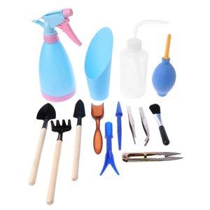 Garten Hand Spaten Schaufel 14pcs Mini Garten Hand Topfen Werkzeuge Saftige Werkzeuge Miniatur Pflanzgartenarbeit-Werkzeug-Set