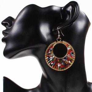 Boucles d'oreilles Magnifiquement bijoux de mode femmes élégantes cristal acrylique tordu crochet plaqué or énorme pendants d'oreilles Set boucles d'oreilles Bohème