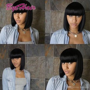 H Bythair Human Hair Lace Front Wig Short Straight Bob Wig With Bangs Brazilian Hair Full Lace Wig With Baby Hair For Black Women