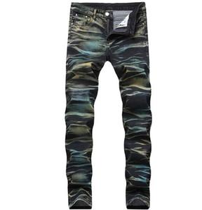 Mens 3D Painted elastico Etero Designer Brand Jeans slim fit Aurora colori graffiato matita Motociclista sbiancato pantaloni del denim Streetwear QKN1922