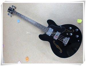 4 Gövde ile Strings Siyah Yarı Hollow Vücut Elektrik Bas Gitar, 2 Transfer Grubu Bağlama, Krom Madeni özelleştirilebilir
