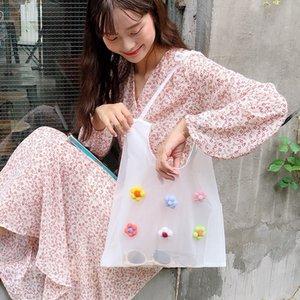 ins girl Xuan Yafeng European root yarn felt flower transparent shopping bag shoulder bag summer small crossbody