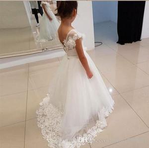 Elegante spettacolo della ragazza Dresse principessa Bow Short Sleeve Dress Prom Abito Piano Lunghezza Graduatioin Partito abito di sfera per Girls7668558