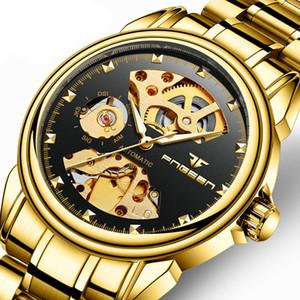 L'uomo lussuoso nottilucente in acciaio impermeabile porta meccanica orologio da polso studente orologio da polso