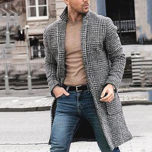 남성 디자이너 겨울 긴 모직 코트 격자 무늬 패턴 패션 남성 가디건 코트 Manteaux이 병력을 부어 따뜻하게