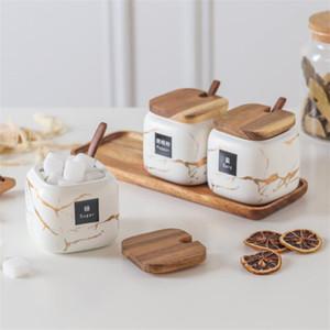Marmo vasi di ceramica Piazza glassato di stoccaggio può Tappo di legno bottiglia di zucchero e sale contenitori sigillati scatola di tè e caffè vaso di stoccaggio