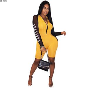 CM. YAYA Сексуальная мода лоскутное узкие женщины комбинезон сетка с длинным рукавом письмо печати стоять шею молния тонкий женский комбинезон CMA7055