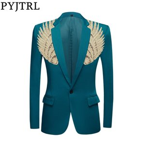 PYJTRL Blazer Men Stylish Green Jacket Gold Colorful Sequins Wing Slim Fit Shiny Blazers Party Stage Singers Suit Jacket Costume