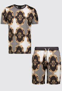 T-shirt Stripe impresso 18 Stylish Boohoo Mens Baroque Set Curto