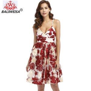 BALIWEISA Sexy V Cuello de malla de flores bordado vestido de verano correa de espagueti Mini vestido elegante Night Club Vestidos Vestidos