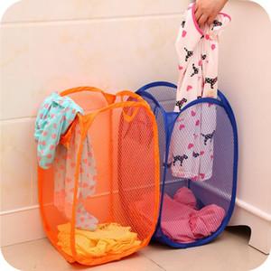 Pieghevole della maglia della lavanderia cesto della biancheria dei vestiti di lavanderia cestino Cesto Mesh Storage Sacco immagazzinaggio dei vestiti fornisce LXL887-1