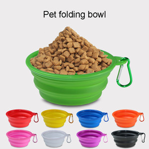Multicolors Silicone Pet Folding Bowl Retractable Utensils Bowl Puppy Drinking Fountain Portable Outdoor Travel Bowl Carabiner BH1862 CY