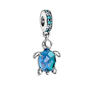 En kaliteli 2020 Yaz Yeni 925 Gümüş Anlar Murano Cam Deniz Kaplumbağası Dangle Charms Marka Boncuk Bileklik Kadınlar DIY Takı sığacak
