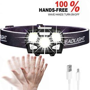 Recarregável 5000 Lumen LED Farol Sensor de Movimento Ultra Bright Hard Hat Lâmpada Farol Poderoso À Prova D 'Água Com USB