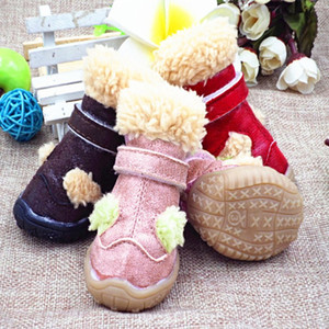 Perro de mascota impermeable invierno zapatos anti-deslizante Lluvia Nieve Botas Calzado caliente grueso para los zapatos de los perros del perro de perrito Pet Supplies