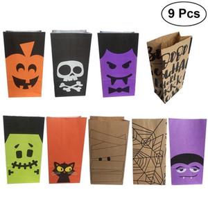 9pcs Halloween-Geschenk Goody Beuter Party Favors Plätzchen Schokoladen Kekse Papiertüten für Kinder-Festival-Feier