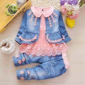0-2Y new 2020 spring girls lace denim patchwork clothing sets 3pcs kids clothes sets girls lace shirt denim jacket jeans 3pcs