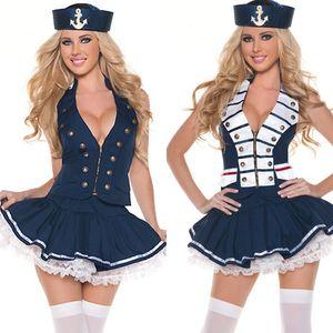 Women Sexy Deep V-neck Sailor Costume Halloween Party Navy Sailor Cosplay Fancy Dress