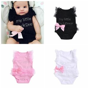 INS hot sell newborn baby lace rompers letters cute babies one-piece clothes white black pink infant toddler jumpsuits