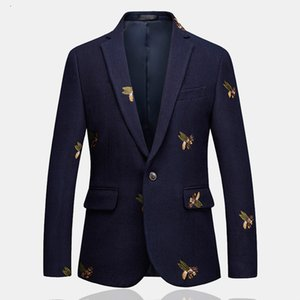 Mens One Button Blazer Bee Embroidery Wedding Smart Casual Slim Fit Jacket High Quality Big Size 6XL Navy Blue Clothes Male T208