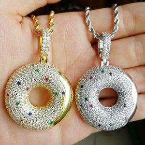 хип-хоп пончик кулон ожерелья для мужчин женщин роскошный дизайнер симпатичные красочные алмазы десерт подвески 18k позолоченные медные ожерелья