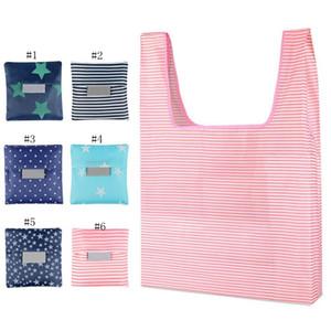 Sacchetti della spesa riutilizzabili Shopping Bags Shopping Tote del sacchetto di grande capacità borse pieghevole di immagazzinaggio del sacchetto dei puntini di Star solidi 19 Colori WZW-YW3207