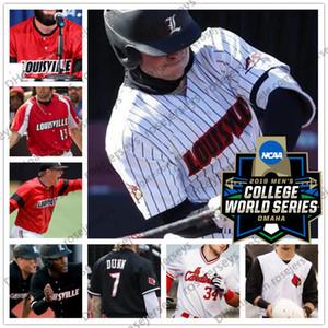 Custom Louisville Cardinals 2019 Бейсбол Любое имя Номер Белый Красный Черный 13 Алекс Бинелас 43 Логан Уайатт Мужчины Молодежный Малыш NCAA CWS Джерси