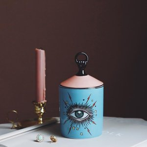 Disegno bello Big Eyes Jar Mani con coperchio in ceramica Lattine Candela decorativa Lattine Holder stoccaggio Home Box decorativi per il trucco