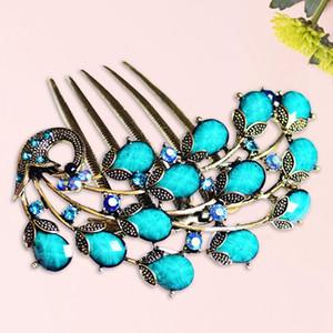 Clip peine del pelo del pavo real de la vendimia antigua del pelo de las horquillas de bronce del tocado de la joyería exquisita para las mujeres