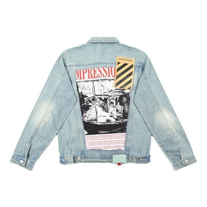 Designer women denim jacket back hole stitching illustration letter print fashion coat womenz