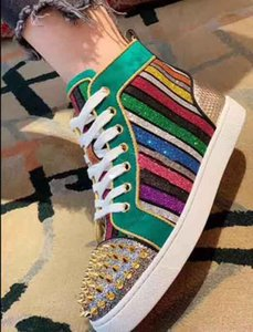 Brilliant Rainbow Glitter Sneakers With Spikes Red Bottom Shoes For Women,Men Fashion Style Wedding Dress Comfort Casual Walking