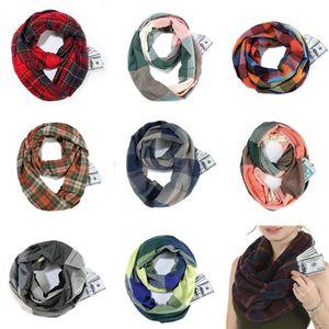Donne sciarpa di viaggio Plaid Infinity Loop Sciarpe Anello Pocket Snood Foulards involucri Controllare collo a scialle Lattice collo sciarpa di pashmina A112703