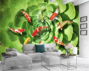 Custom 3d Animal Wallpaper Emerald Green Fleshy Auspicious Fish Digital Printing HD Decorative Beautiful Wallpaper