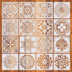 16 Unidades / pacote Casa Decorativa 15 * 15 cm Padrão Vintage Artesanato Camadas Stencils Template Para Móveis de Chão de Parede Pintura Decorativa
