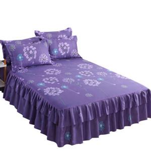 패션 3PCS 세트 침구 침대 스커트 + 2PC 무료 베개 웨딩 침대 덮개 침대 시트 매트리스 커버 전체 트윈 퀸 킹 사이즈 침대 시트