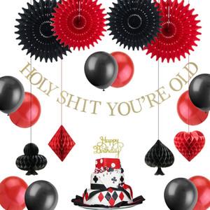 Casino Poker Tema Doğum Günü Partisi Süslemeleri Siyah Kırmızı Balonlar Komik Afiş Doğum Günü Pastası Topper Hayranları Las Vegas Malzemeleri