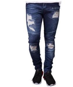 Primavera Verano bordado Denim Blue Jeans drapeado Hiphop Calle Nueva del diseñador del Mens Ripped Jeans motorista