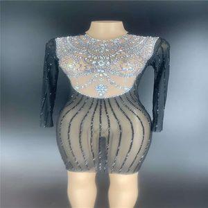 V44 Singer Bühne Performance elastischen Abend Perspektive Kleid schwarz Strass Tasche Hüfte Rock Mesh Diamanten Outfit Bohren Partei trägt ds